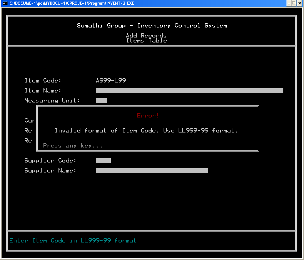 Inventory Control System user interface with a message box