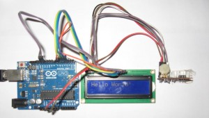 Arduino Board and the LCD, Python message is displayed